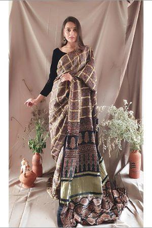 Ajrakh-Checks-Modall-Silk-Saree-Natural-Dye