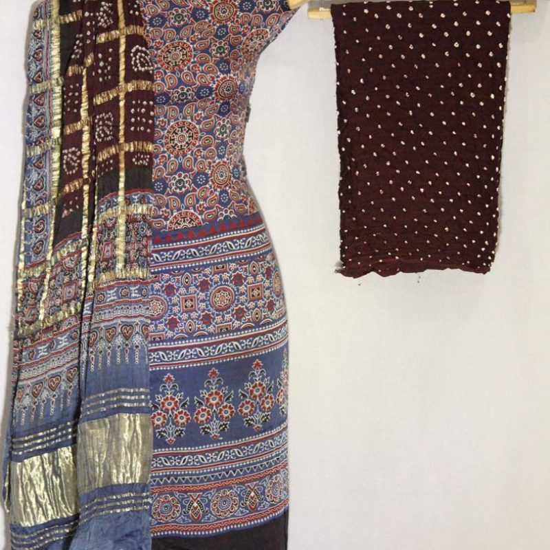 Ajrakh With Bandhni Modall Silk Suit 1